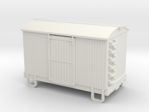 HOn30 13ft 4w box car round roof in White Strong & Flexible