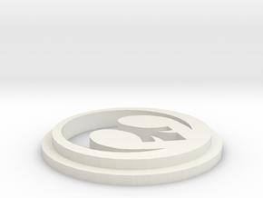 Pommel Insert With Rebel Logo in White Natural Versatile Plastic