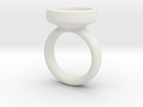Glass Dome Ring Size 7 in White Natural Versatile Plastic