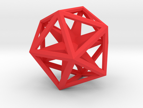 Icosahedron Convex Hull in Red Processed Versatile Plastic