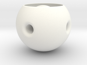 Desk Toy | Hole Thru a Hole in a Hole in White Strong & Flexible Polished