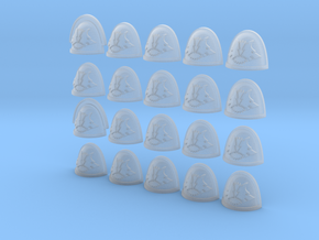 Double Wolf Star - 20, 28mm Shoulder Pads in Smooth Fine Detail Plastic