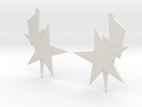 Bolt and Star Earrings in White Natural Versatile Plastic
