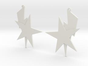 Bolt and Star Earrings in White Natural Versatile Plastic