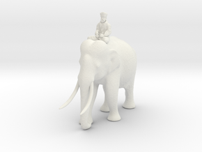 Indian Elephant with Rider 140mm in White Natural Versatile Plastic