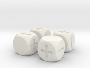 Basic Fudge Dice SOLID (x4) Fate dF in White Natural Versatile Plastic