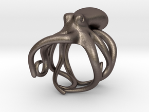 Octopus Ring 18mm in Polished Bronzed Silver Steel