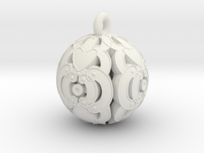 Pendant- Mari Bead in White Natural Versatile Plastic