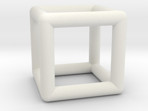 Hexahedron (Cube) in White Natural Versatile Plastic