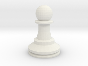 Large Staunton Pawn Chesspiece in White Natural Versatile Plastic