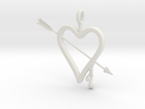 Heart & Arrow Pendant in White Natural Versatile Plastic