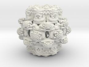 Power 8 Mandelbulb Fractal in White Natural Versatile Plastic