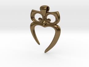 Owl Heart Pendant in Natural Bronze