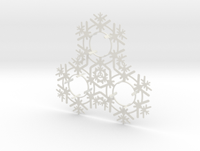 Triplet Snow Flake 2 in White Natural Versatile Plastic