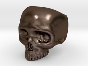 Skull Ring V2 - Size 12 in Polished Bronze Steel