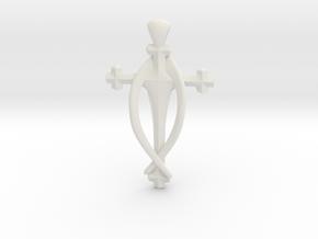 Fish Cross pendant in White Natural Versatile Plastic