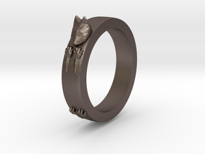 Kitty Ring ~ Size 8 in Polished Bronzed Silver Steel