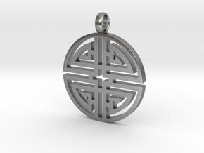 Longevity Pendant in Natural Silver