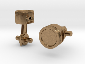 Piston Cufflinks in Natural Brass