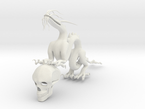 "6"" Chinese Dragon Human Skull Pose1 in White Strong & Flexible"