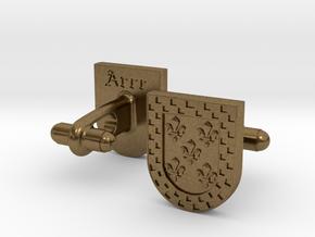 Heraldic Cufflinks (Arce) in Natural Bronze