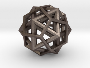IcosoDodecahedron Thick - 3.5cm in Polished Bronzed Silver Steel