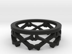 Bones Crown Design Ring - Size 10 in Black Natural Versatile Plastic