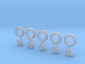 """1:48 14"""" 9 Spoke Wheels and 185/60R14 Tires in Smooth Fine Detail Plastic"""