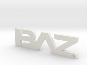 BAZ Keychain (Large) in White Natural Versatile Plastic