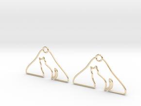 Cat Hanger Earrings in 14K Yellow Gold