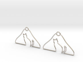 Cat Hanger Earrings in Platinum