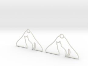 Cat Hanger Earrings in White Natural Versatile Plastic