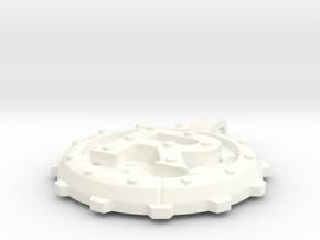 """Steampunk Monogram Pendant """"R"""" in White Processed Versatile Plastic"""