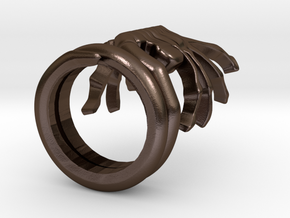 ALIENS Facehugger Ring in Polished Bronze Steel: 8 / 56.75