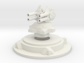Miniature artillery turret medium in White Natural Versatile Plastic