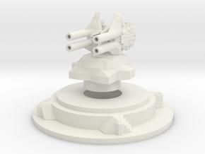 Miniature artillery turret medium in White Natural Versatile Plastic