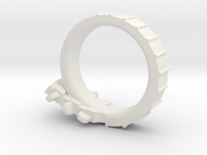 Folk Guitar Ring Size 6 (US) in White Natural Versatile Plastic