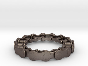 RS CHAIN RING SIZE 9 in Polished Bronzed Silver Steel