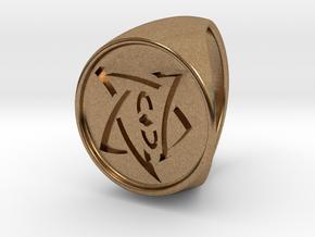 Elder Sign Signet Ring Size 8.5  in Natural Brass