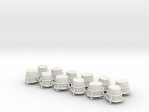 12 x top hat and goggles tire valve caps in White Natural Versatile Plastic