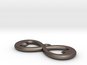 Two Hearts Infinity Symbol (Large) in Polished Bronzed Silver Steel