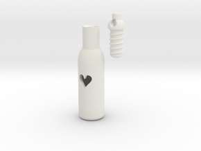 Message In A Bottle -Open Heart Version in White Natural Versatile Plastic
