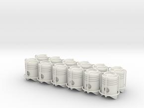 12x Piston tire valve cap in White Natural Versatile Plastic