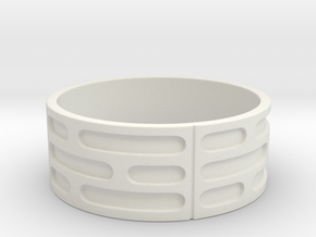 Imperial Wall Pattern Ring in White Natural Versatile Plastic