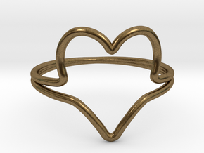 Wire Heart Ring (Size 7) in Natural Bronze