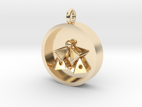 Pyramid Kiss Pendant in 14K Yellow Gold