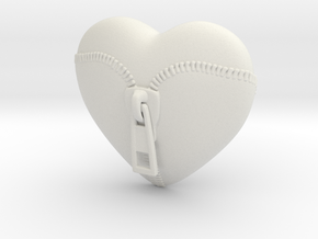 Leather Zipped Heart Pendant in White Natural Versatile Plastic