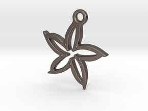 Leaf pendant in Polished Bronzed Silver Steel