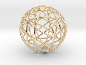 Star Cage: Sacred Geometry 12 Circles 40mm in 14K Yellow Gold