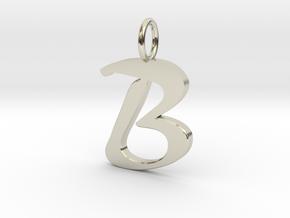 Classic Script Initial Pendant Letter B. in 14k White Gold
